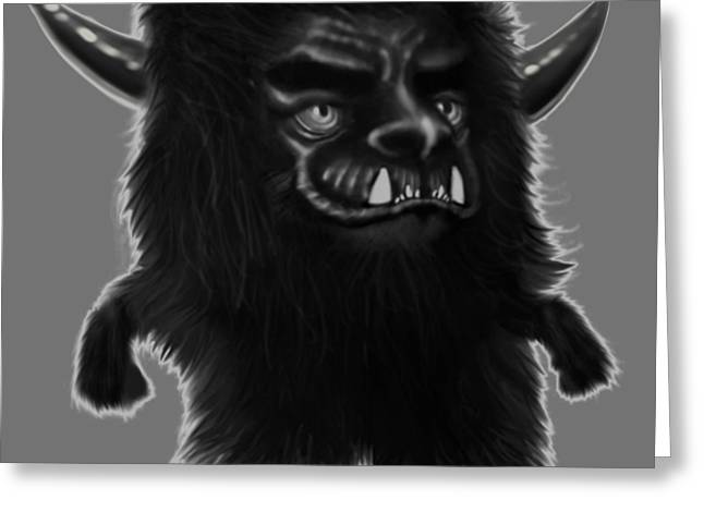 Lil Fuzzy Monster Black Ver. Greeting Card by Winston Wesley Art