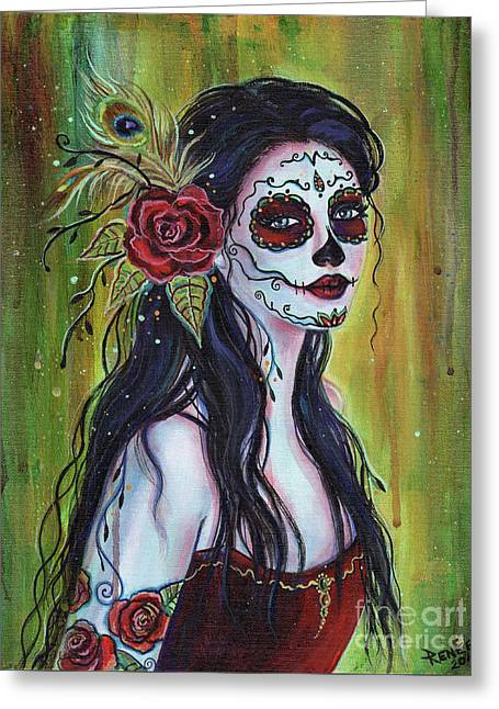 Lila Day Of The Dead Art Greeting Card by Renee Lavoie