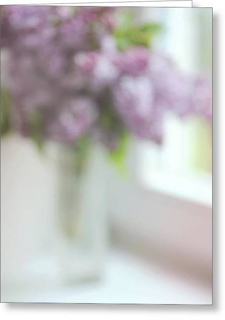 Lilac At The Window. Impressionism Greeting Card by Jenny Rainbow