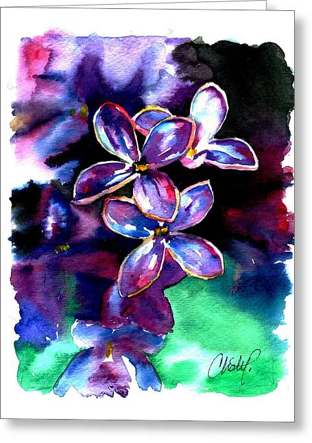 Lilac Blossom Greeting Card by Christy  Freeman