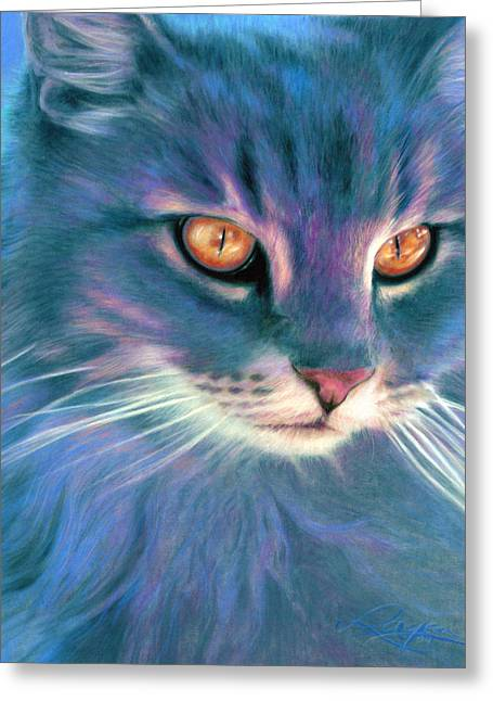 Greeting Card featuring the painting Lilac Cat by Ragen Mendenhall