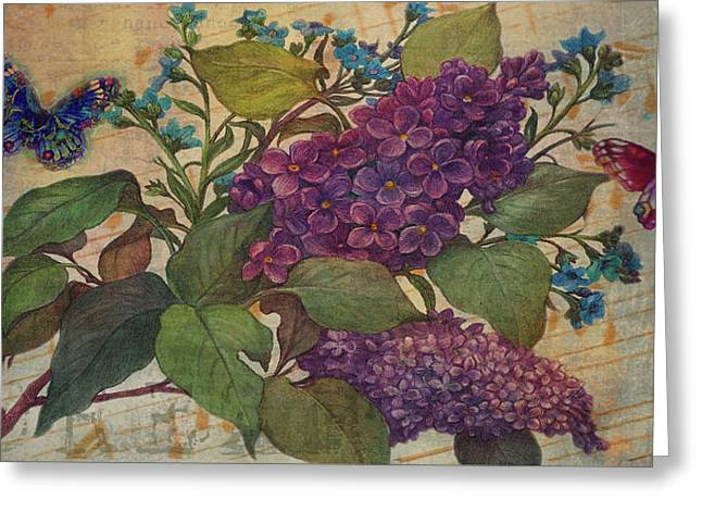 Greeting Card featuring the painting Lilac Dreams Illustrated Butterfly by Judith Cheng