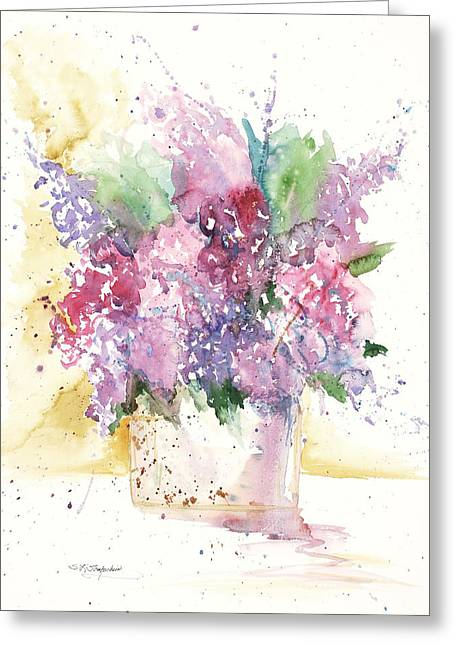 Greeting Card featuring the painting Lilac Explosion by Sandra Strohschein