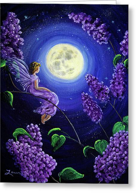 Lilac Fairy Bathed In Moonlight Greeting Card by Laura Iverson