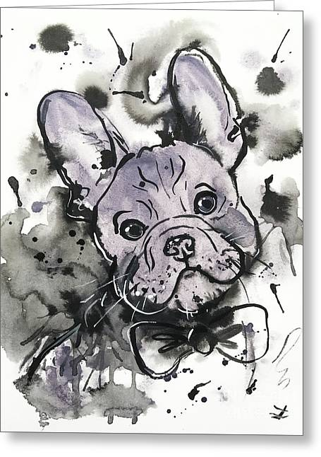 Greeting Card featuring the painting Lilac Frenchie by Zaira Dzhaubaeva
