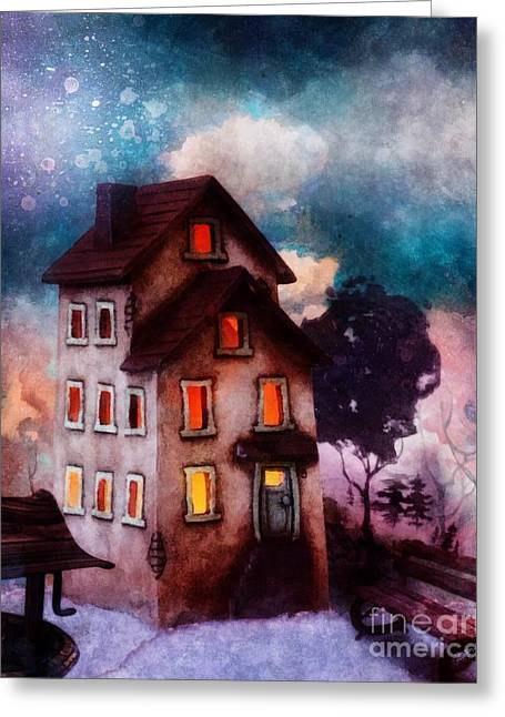 Greeting Card featuring the painting Lilac Hill by Mo T