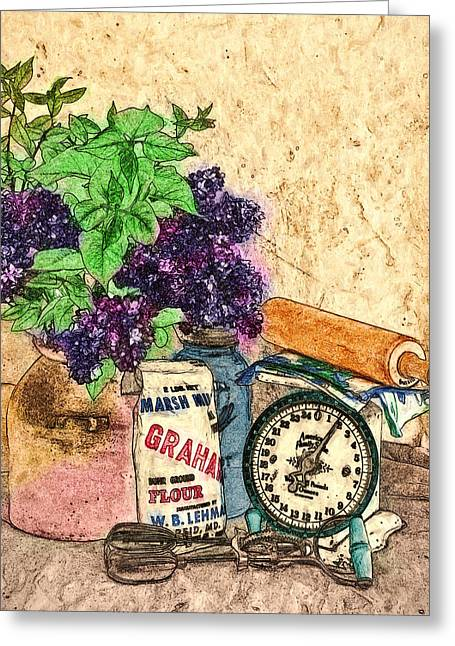 Lilac In Pantry Greeting Card by John K Woodruff