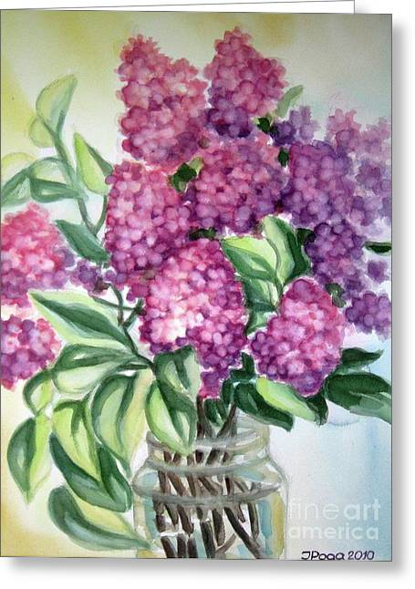 Lilac On The Kitchen Table Greeting Card