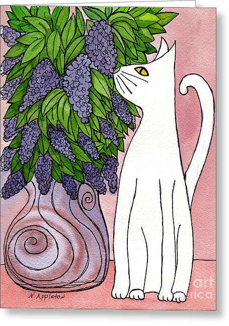 Lilac Sniffing Cat Greeting Card