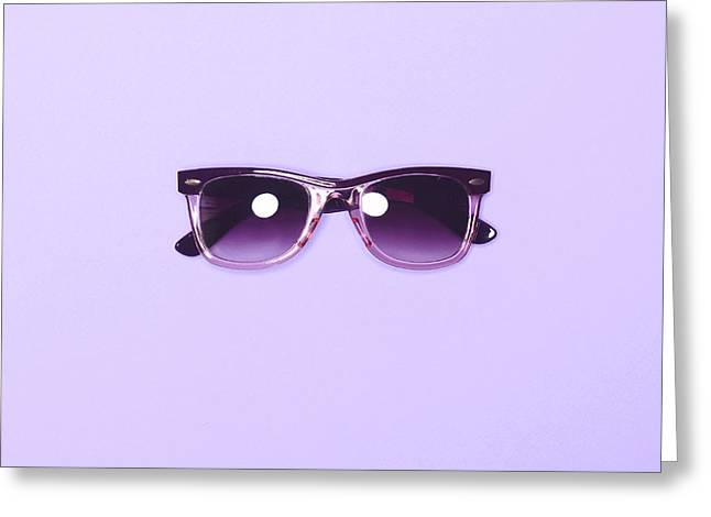 Lilac Sunglasses - Trendy Minimal Design Top View Greeting Card