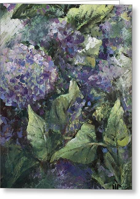 Hydrangea-modern Palette Knife Abstract Flower Greeting Card