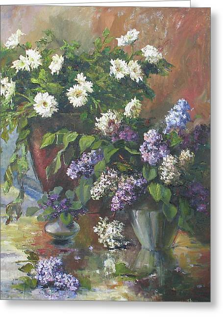 Greeting Card featuring the painting Lilacs And Asters by Tigran Ghulyan