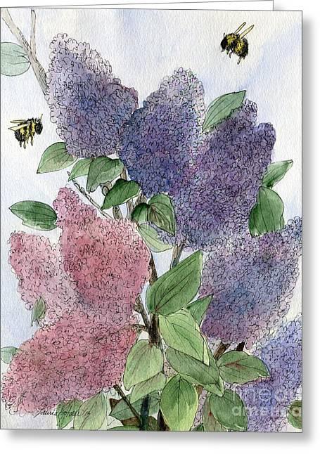 Lilacs And Bees Greeting Card