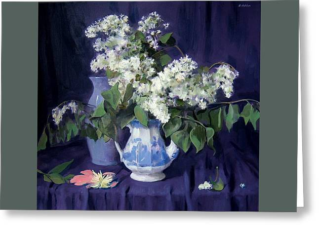 Lilacs And Blue Greeting Card