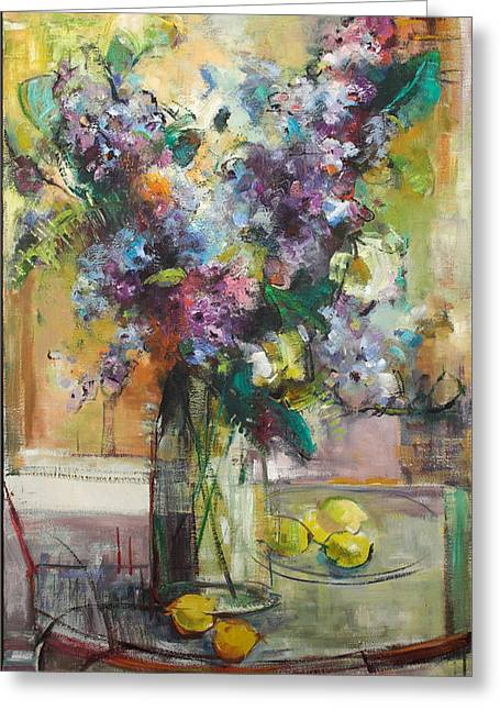 Lilacs And Lemons Greeting Card by Blake Originals - Marjorie and Beverly