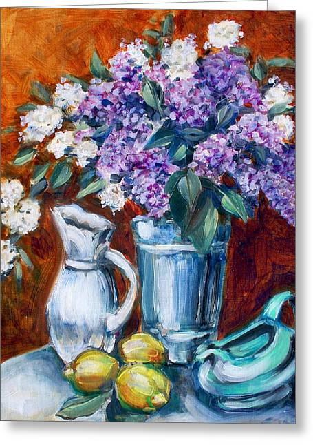 Lilacs And Lemons Greeting Card by Sheila Tajima