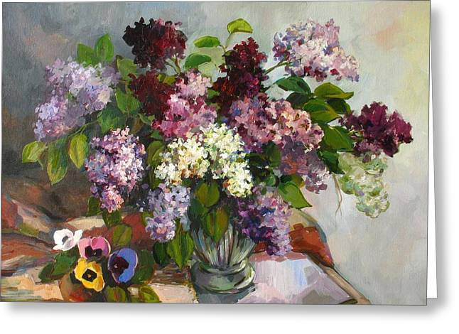 Greeting Card featuring the painting Lilacs And Pansies by Tigran Ghulyan