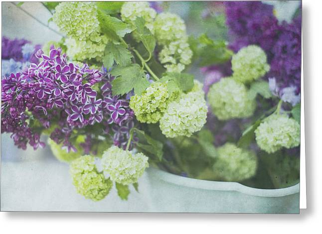 Lilacs And Snowballs Greeting Card by Rebecca Cozart