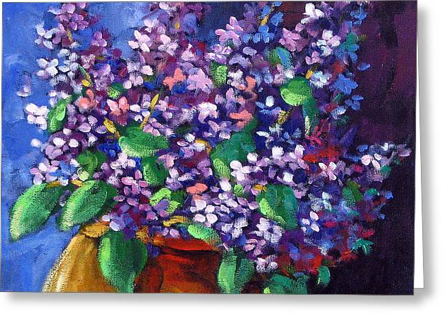 Lilacs Bouquet By Prankearts Greeting Card by Richard T Pranke