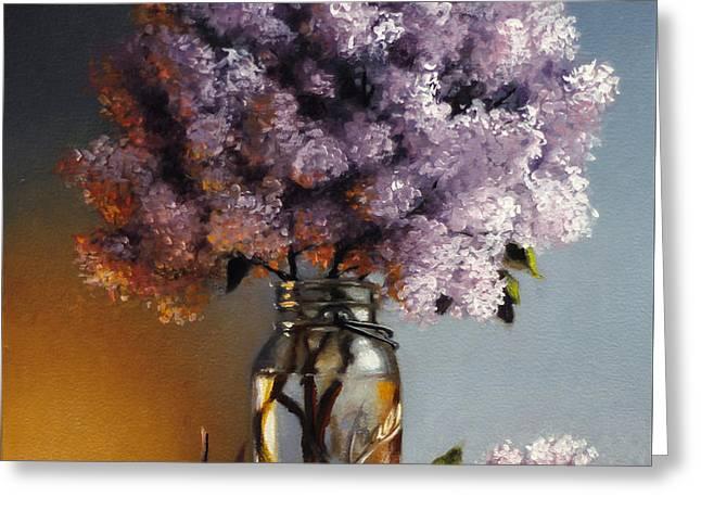 Lilacs In A Ball Jar Greeting Card