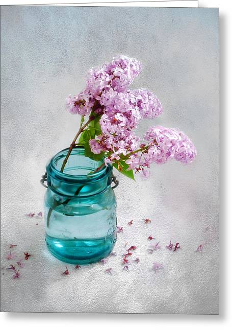 Greeting Card featuring the photograph Lilacs In A Glass Jar Still Life by Louise Kumpf
