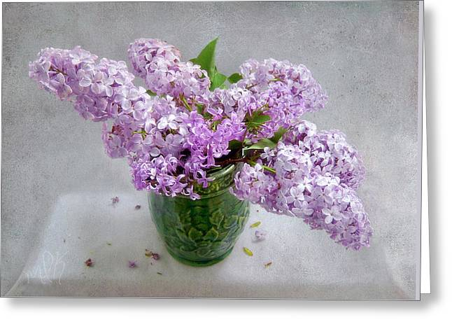 Lilacs In A Green Tankard Still Life Greeting Card