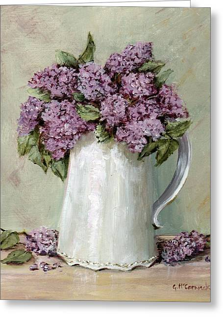 Lilacs In A White Jug Greeting Card by Gail McCormack