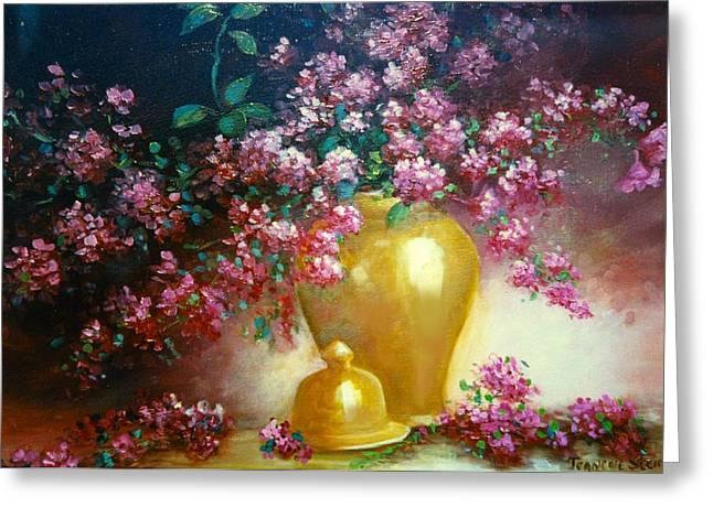 Lilacs In Gold Vase Greeting Card by Jeanene Stein