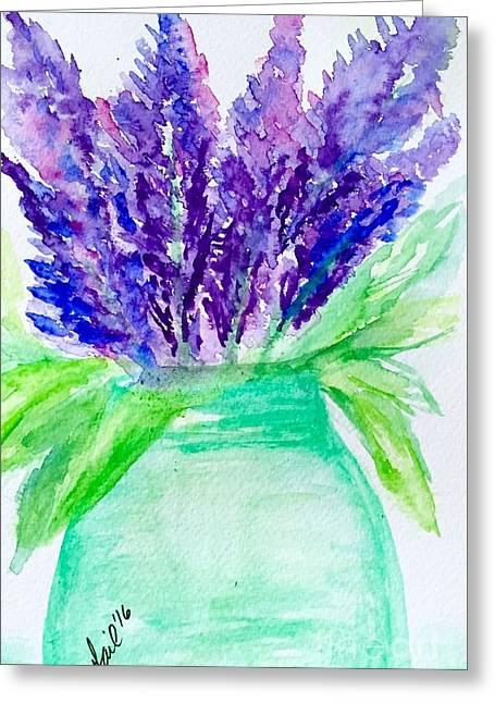 Lilacs Mason Jar  Greeting Card by Gail Nandlal