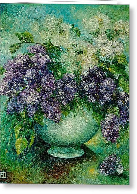 Lilacs No 4. Greeting Card by Evgenia Davidov