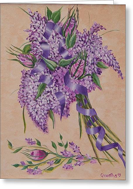Greeting Card featuring the painting Lilacs by Quwatha Valentine