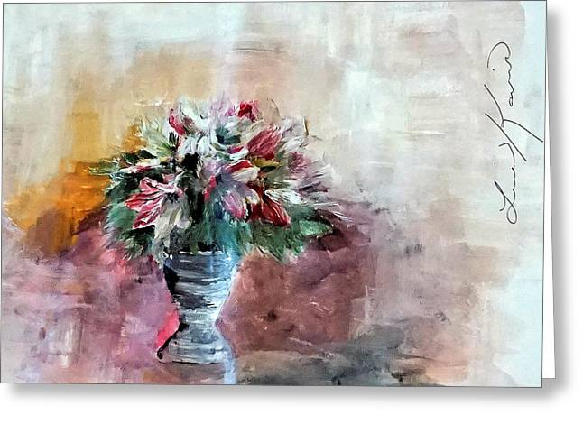 Lilies And A Blanket Painting Greeting Card by Lisa Kaiser