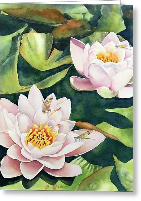 Lilies And Dragonflies Greeting Card