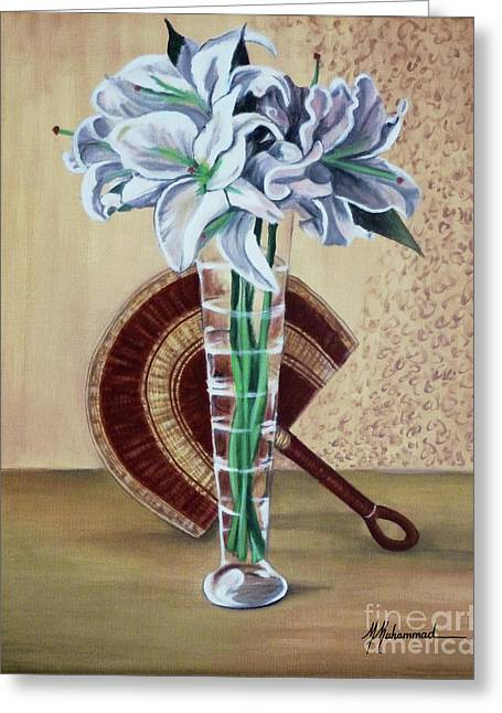 Lilies And Fan Greeting Card by Marcella Muhammad