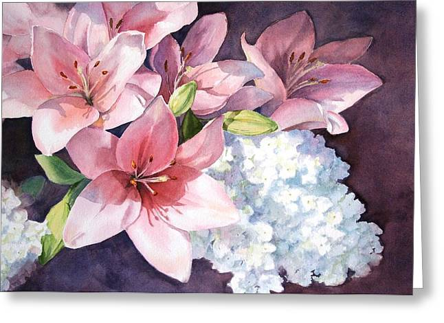 Lilies And Hydrangeas - II Greeting Card