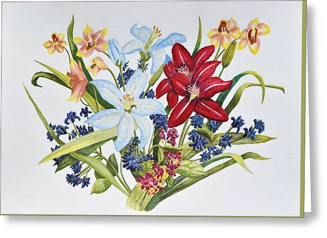 Lilies And Orchids Greeting Card