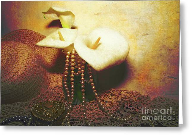Lilies And Pearls Greeting Card by Kathy Franklin