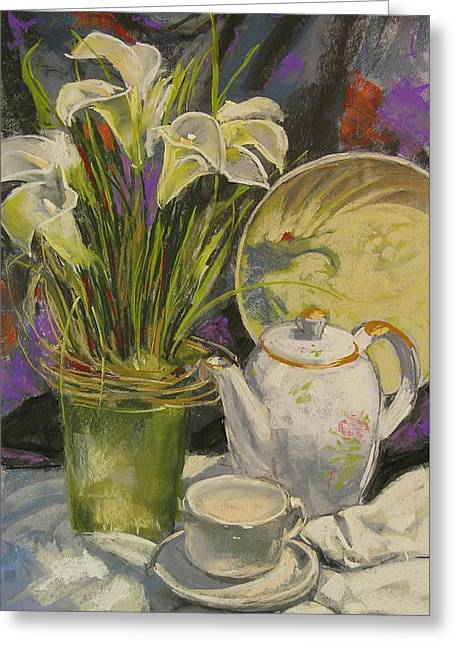 Lilies And White Greeting Card by Mary McInnis