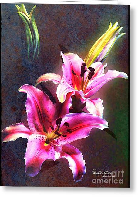 Lilies At Night Greeting Card