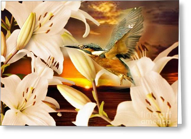 Lilies At Sunset Greeting Card