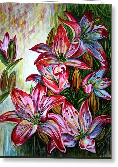 Lilies Greeting Card by Harsh Malik