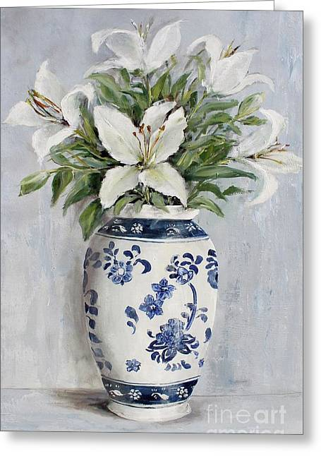 Lilies In Blue And White Vase Greeting Card by Gail McCormack