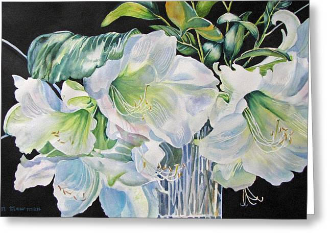 Lilies-in-milan Greeting Card by Nancy Newman