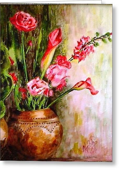 Greeting Card featuring the painting Lilies In The Pots by Harsh Malik