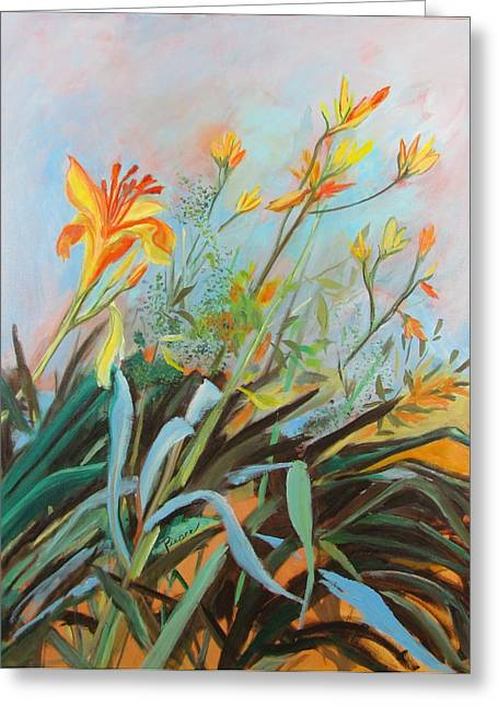 Greeting Card featuring the painting Lilies Of The Field by Betty Pieper