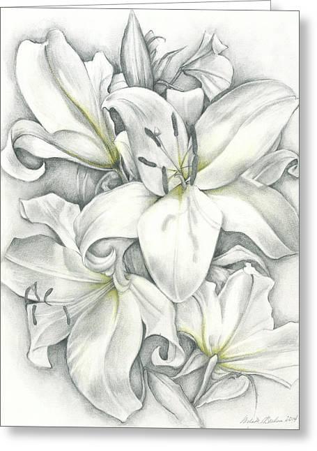 Lilies Pencil Greeting Card