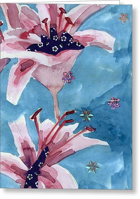 Lilies Portrait Greeting Card by Geckojoy Gecko Books