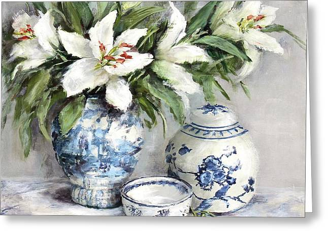 Lilies With Blue And White China Greeting Card by Gail McCormack