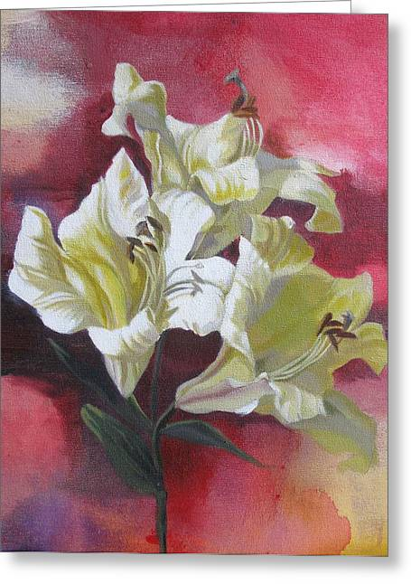 Lilies With Red Greeting Card by Alfred Ng