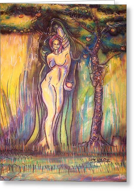 Adam Pastels Greeting Cards - Lilith Satan Adam And The Fruit Greeting Card by Americo Salazar